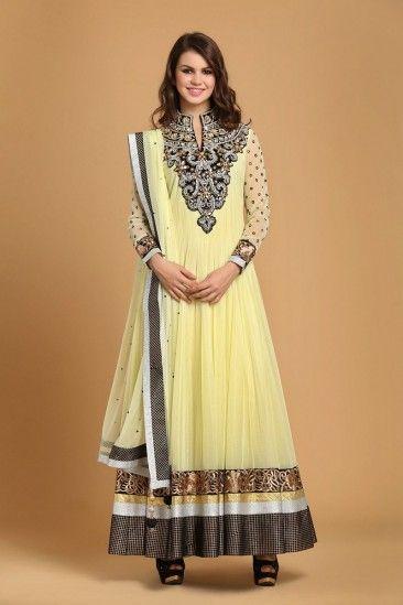 Yellow polyester net Anarkali Churidar - 1602 | Andaaz Fashion New ...