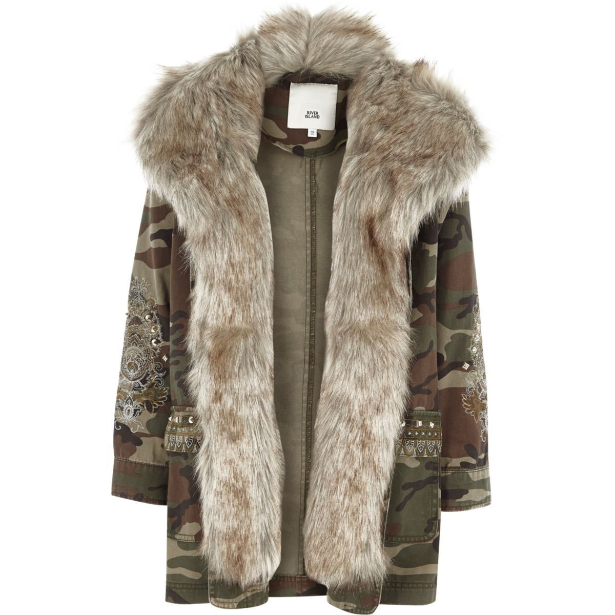 Girls camo embroidered faux fur parka coat Girls winter