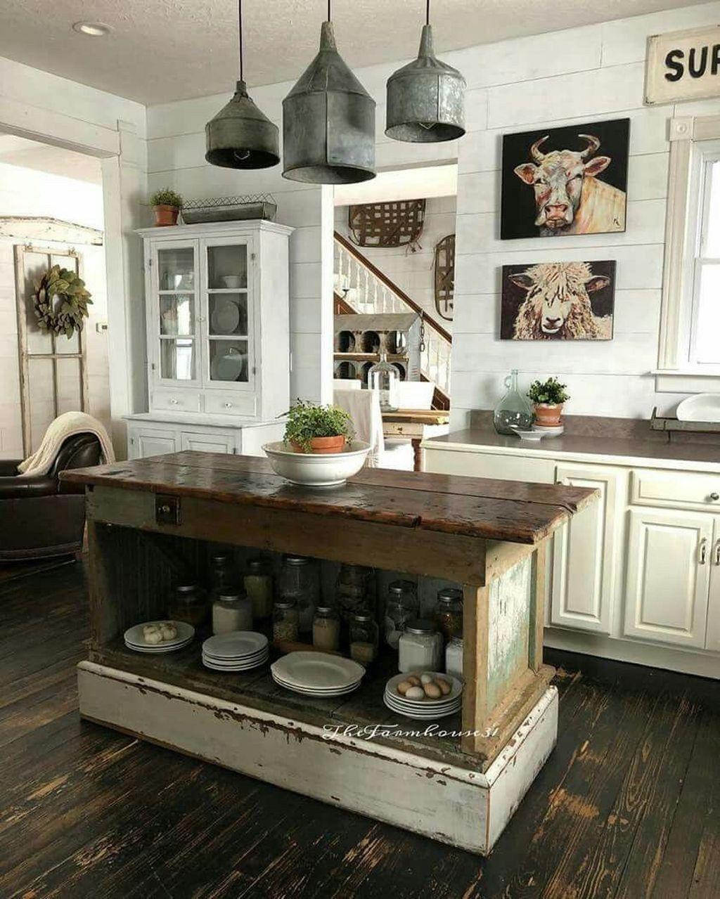 Bead board cabinets Old kitchen island Butcher