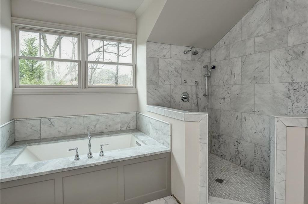 Contemporary master bathroom with rain shower head jet shower head view this great contemporary master bathroom with handheld shower head complex marble tile floors in atlanta ga the home was built in 1950 and is 3598 ppazfo