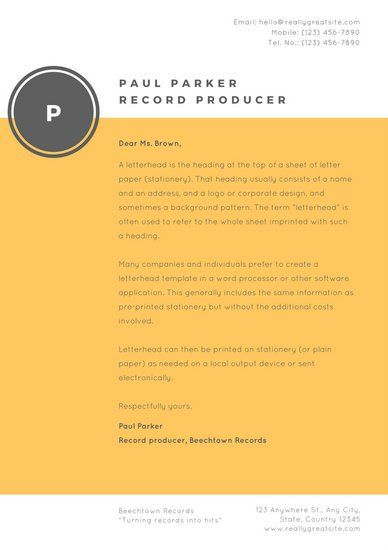 Orange and Charcoal Simple Artist Letterhead Personal Brand