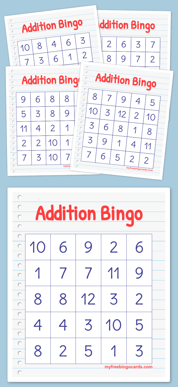 Addition Bingo Math Bingo Bingo Cards Printable Bingo Printable Free
