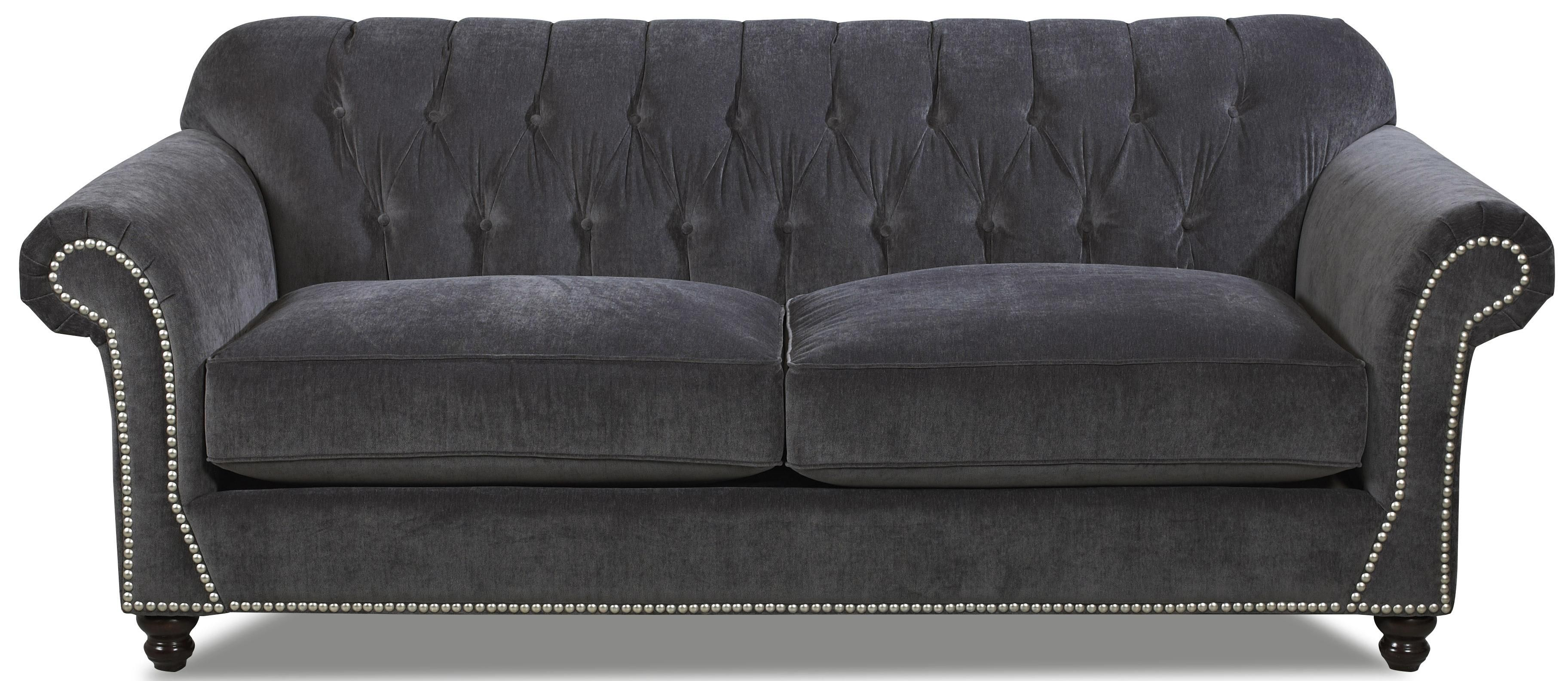 Rolled arm tufted sofa fabric upholstered rolled arm on for Tufted couch set