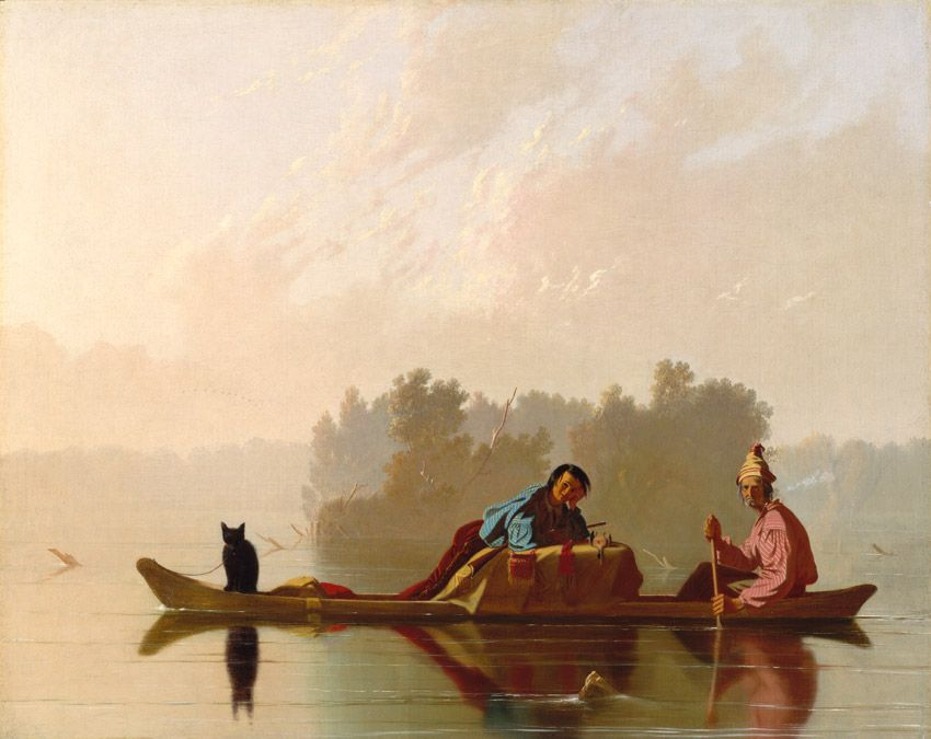 George Caleb Bingham (American, 1811-1879). Fur Traders Descending the Missouri, 1845. The Metropolitan Museum of Art, New York. Morris K. Jesup Fund, 1933 (33.61)   Mist and silence, impenetrable and bewitched, mark the scene. In fact, Bingham portrayed a form of trading long since outmoded by the mid-nineteenth century, but the painting captivated Easterners who saw it exhibited in New York. #OneMetManyWorlds
