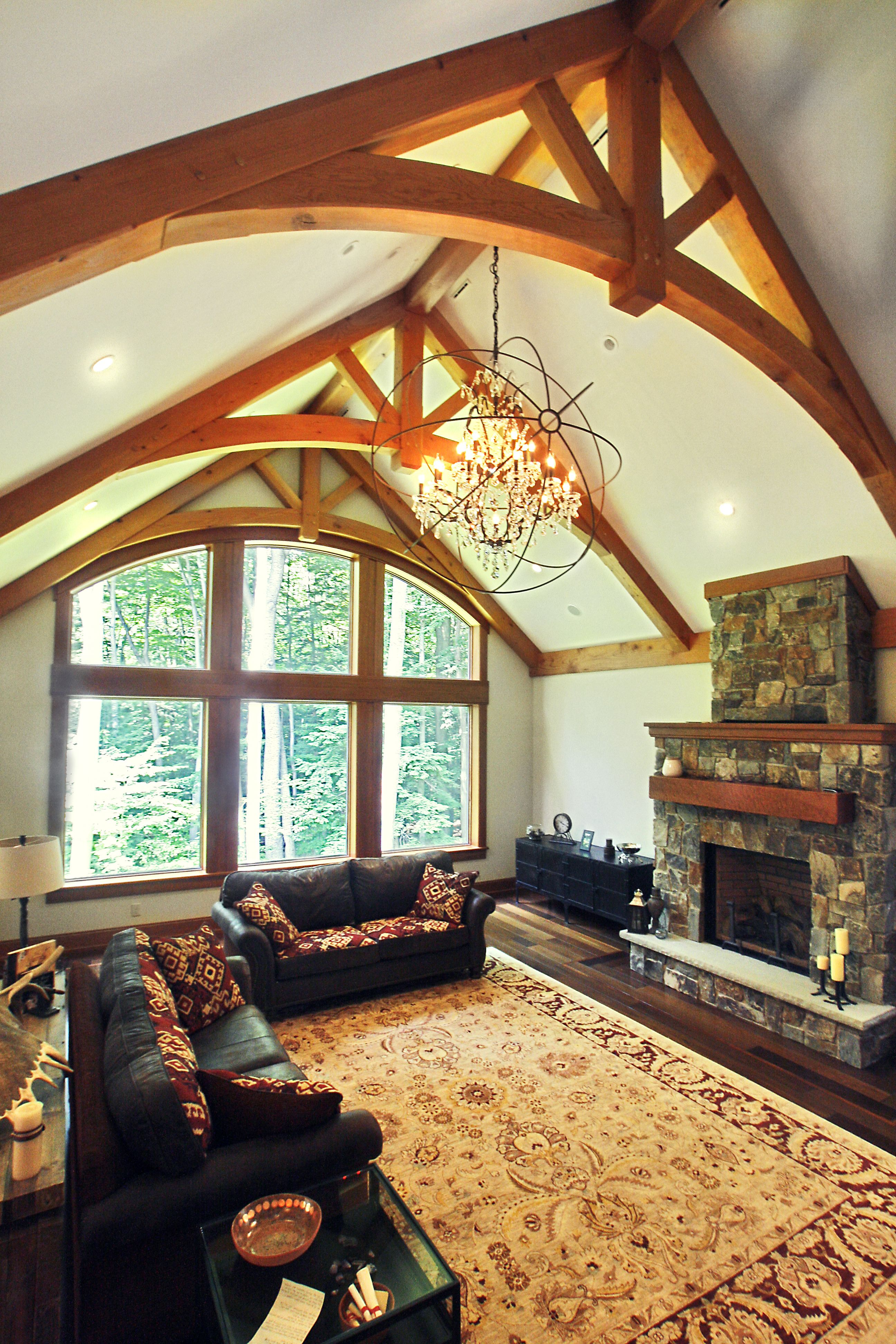 Timber frame timber frame home interiors new energy for Timber frame great room