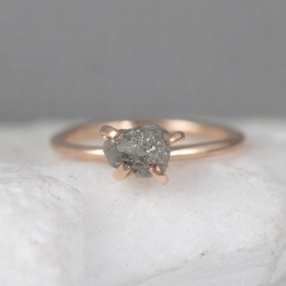 Raw Uncut Rough Diamond Engagement Ring 14K Rose GoldRough