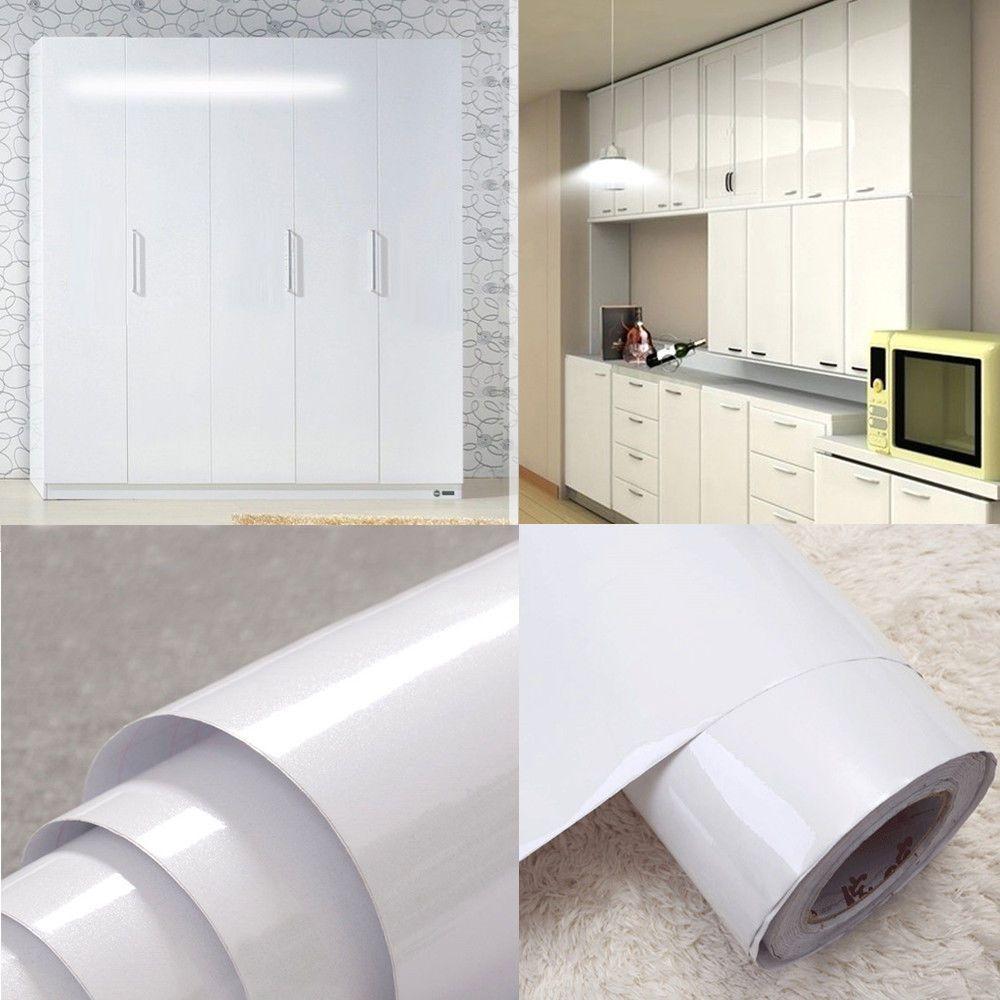 High Gloss Glittery White Contact Paper Vinyl Oil Proof Wallpaper