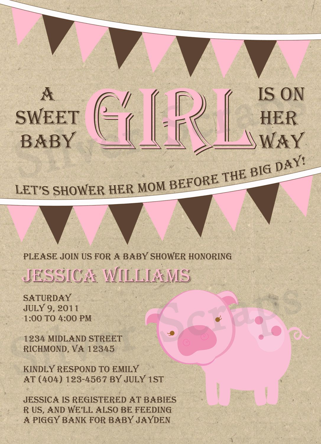 Bunting and Piggy - Custom Baby Shower Invitation - Girl - Pink ...
