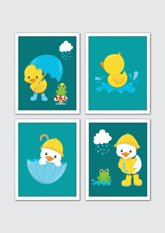 Rubber Duck Nursery Prints Rubber Duckies Baby Bathroom Art Set Of 4 Rubber Ducky Nursery