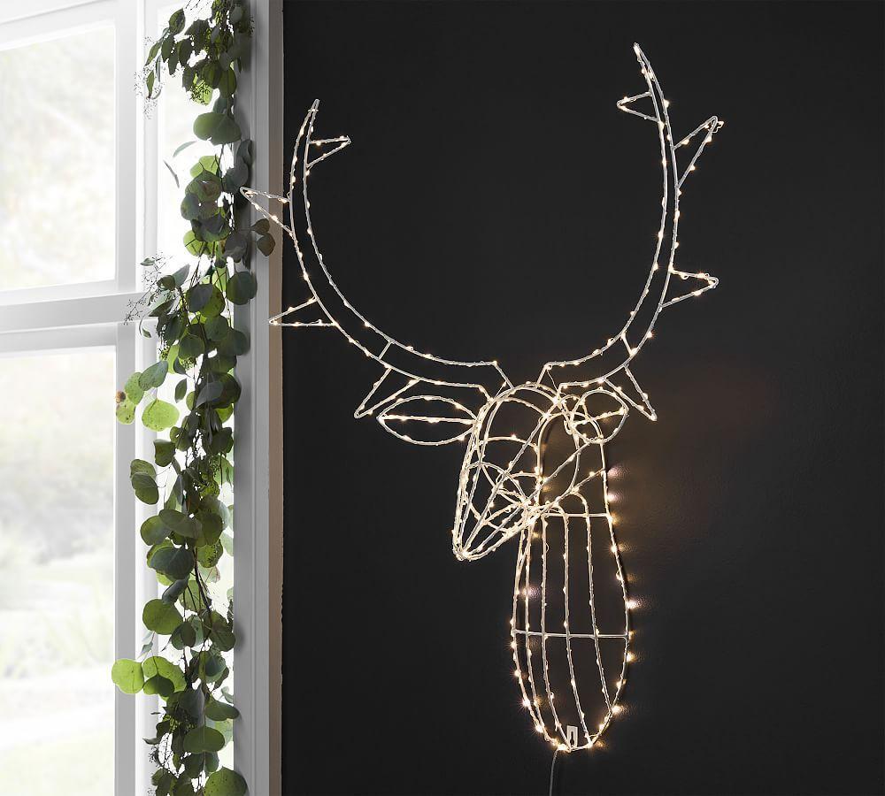 Light Up Deer Head Wall Art Pottery Barn Lighting