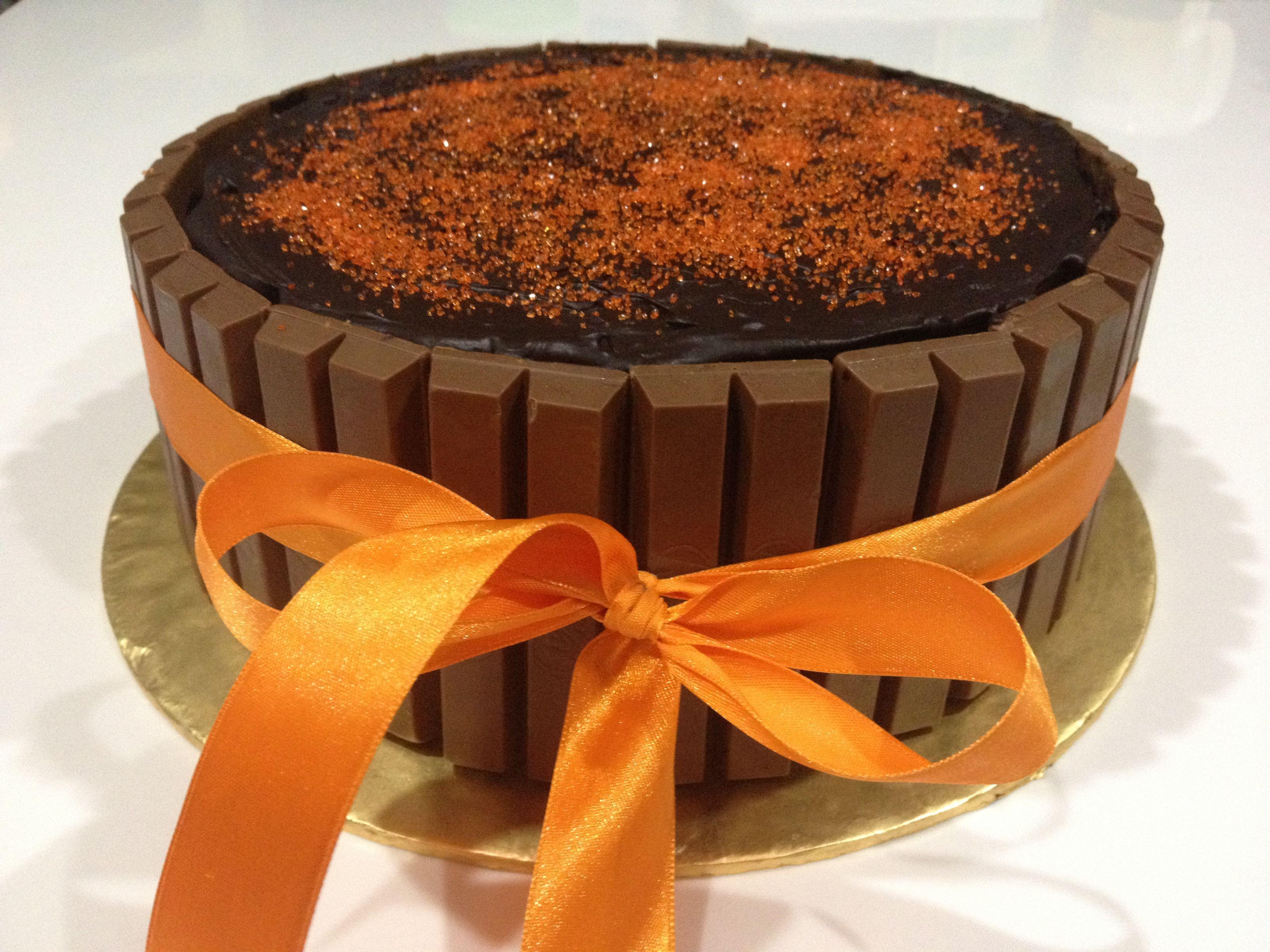 Perfect Chocolate Orange Mud Cake decorated with Kit Kat ...