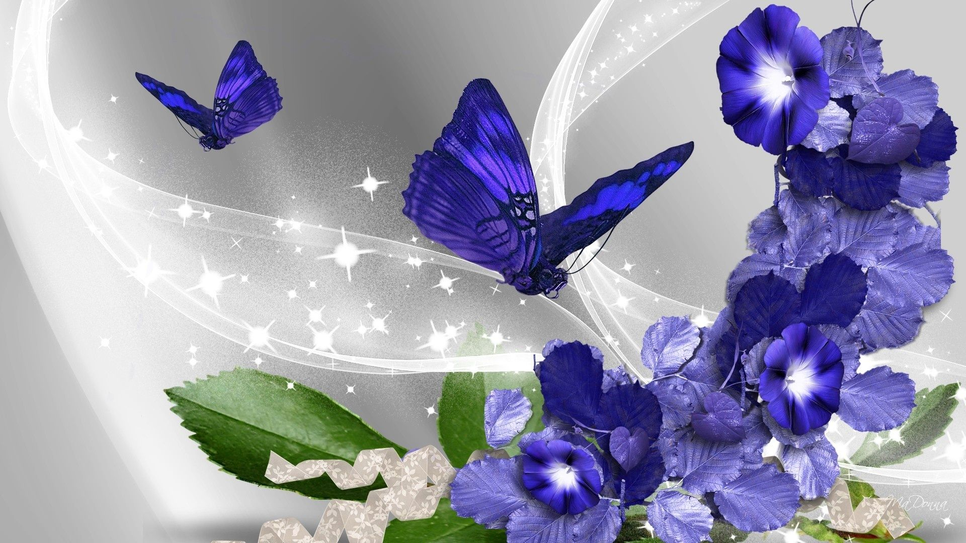 Image Result For 3d Flower Wallpaper Download Biru