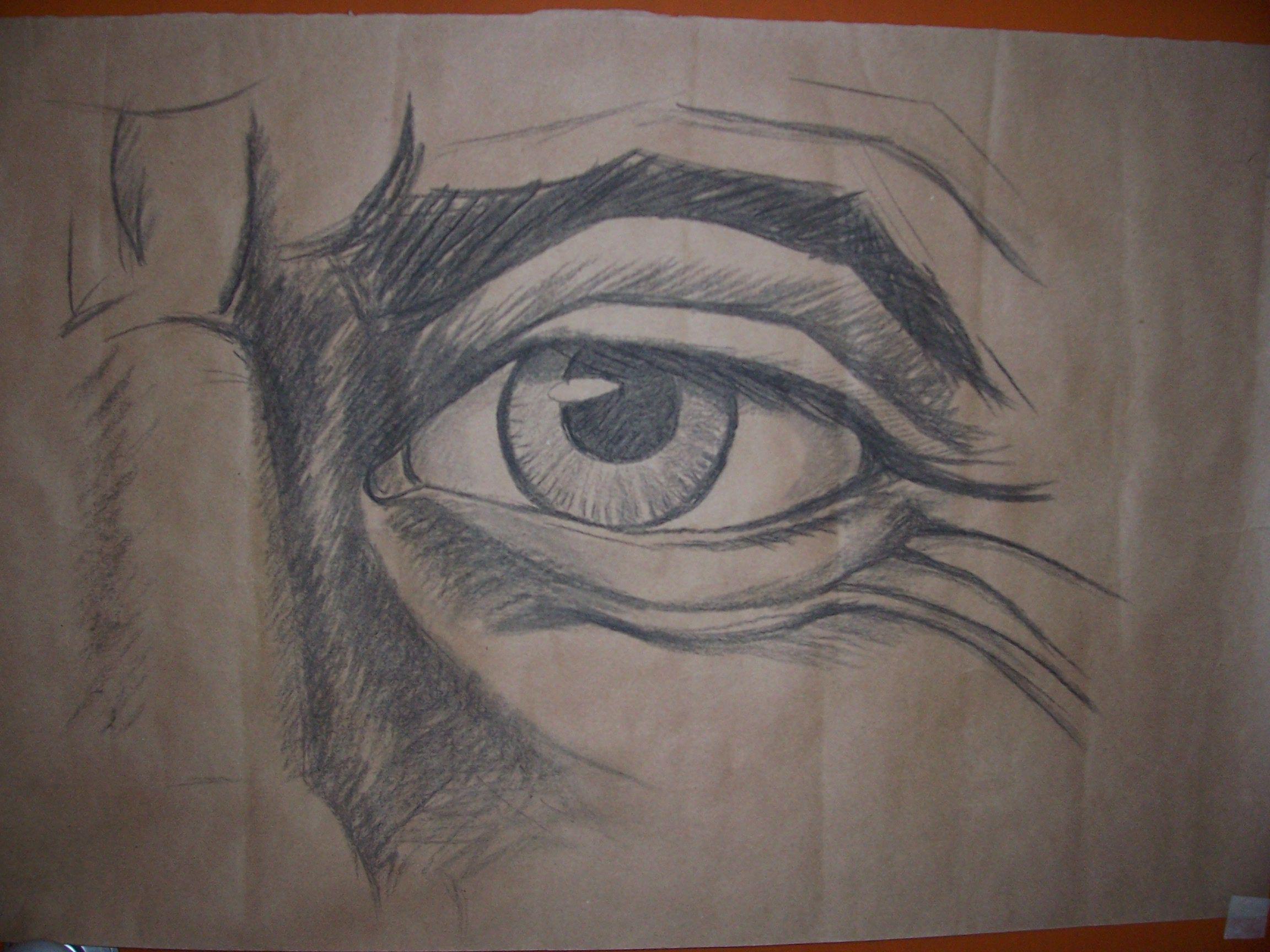boceto al carboncillo ojo de anciano Obra de Susana Soto Poblette