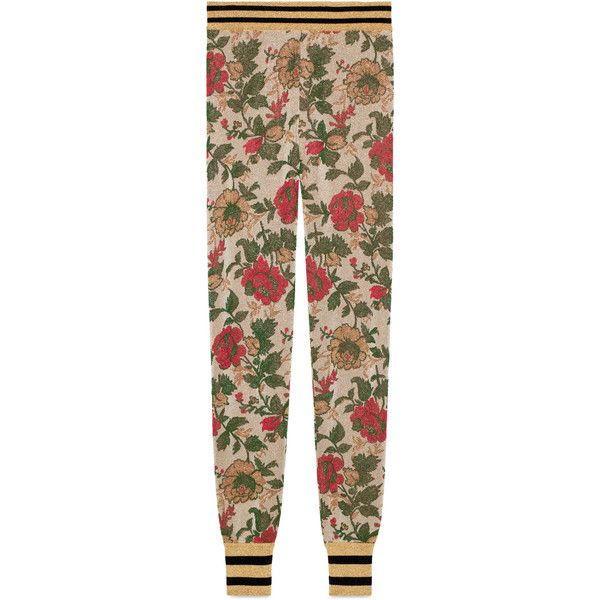 a438a940cd861 Gucci Lurex Rose Jacquard Legging ($1,025) ❤ liked on Polyvore featuring  pants, leggings, pants & shorts, ready-to-wear, rose, women, metallic  leggings, ...