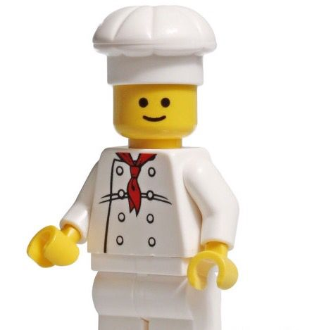 Lego New White Minifigure Chef Torso Female Chef with 6 Black Buttons