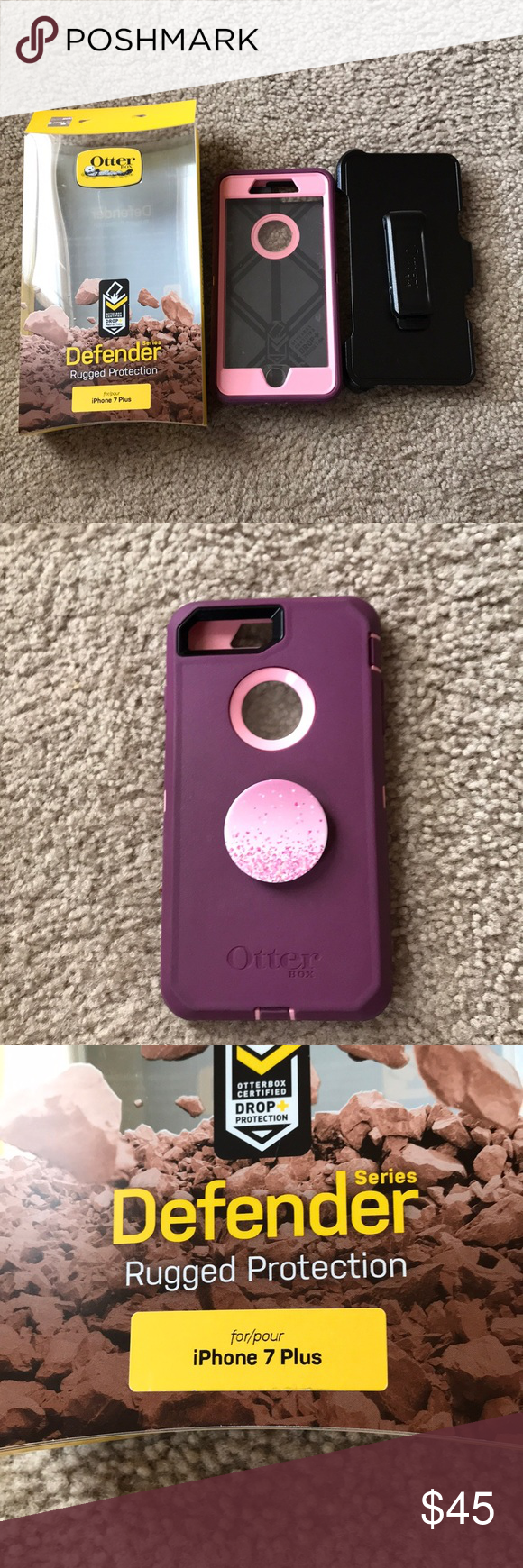 san francisco 8a43c 87258 Iphone 7 plus otter box case with pop socket! Pink and purple case ...