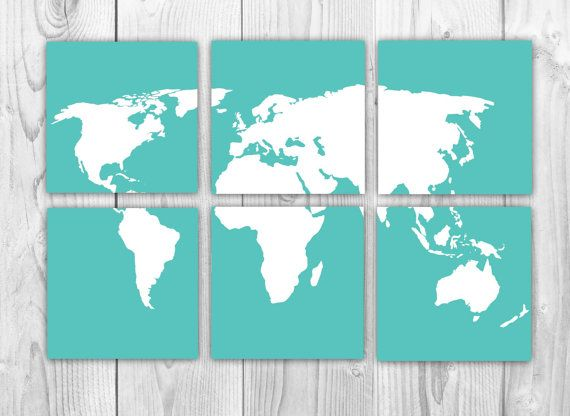 World map 6 art prints set of 6 10x10 prints aqua and white world map 6 art prints set of 6 10x10 prints aqua and white world gumiabroncs Image collections