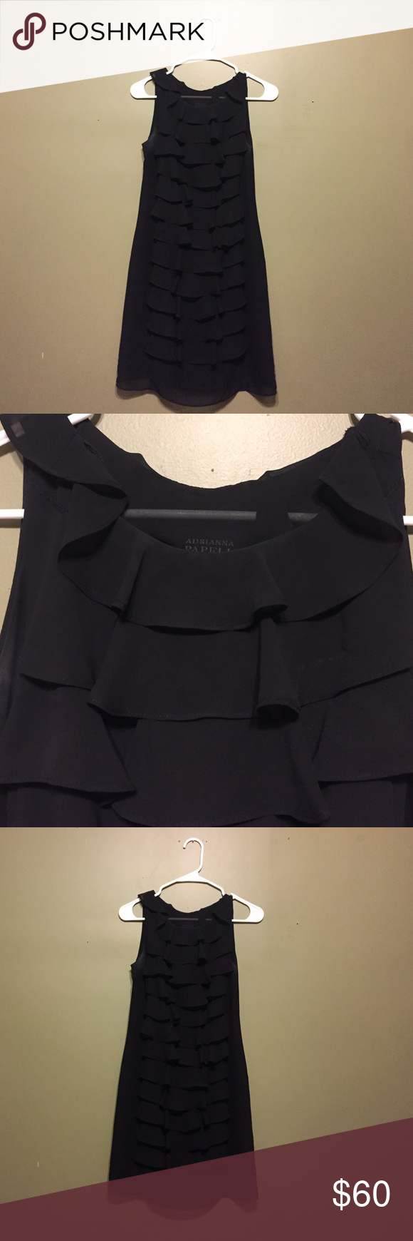 Adrianna Papell Sleeveless Ruffle Dress Adrianna Papell Sleeveless Ruffle Dress in black. Purchased from Nordstrom and worn 3x. Great condition! Size 4. Adrianna Papell Dresses
