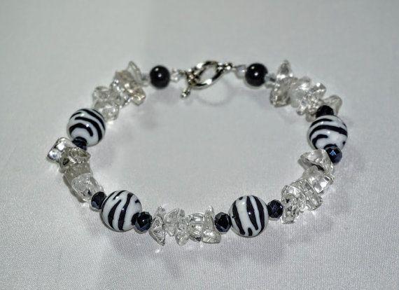White and Black  Ice Quartz Crystal Bracelet by EarthDreamsbySunLi