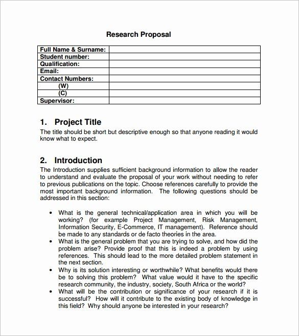 Project Proposal Format For Student Unique Project
