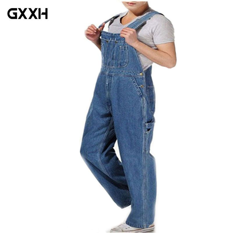 89fb310adc3 Hot 2018 Men s Plus Size 26-44 46 Overalls Large Size Huge Denim Bib Pants