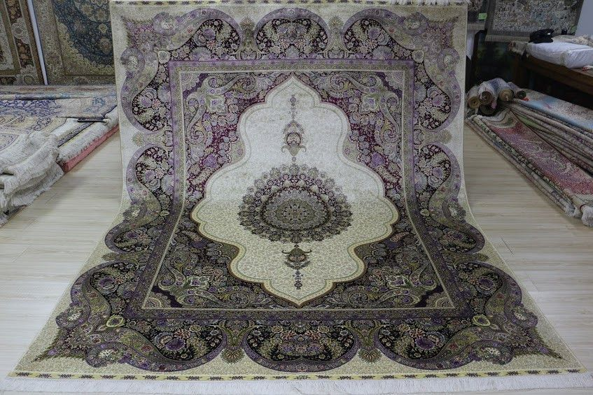 Gorgeous Purple & Beige 8'x10' Hand Knotted Pure Silk Rug Oriental Persian Palace Floral Medallion Pattern (LYX-81005, Purple & Beige)