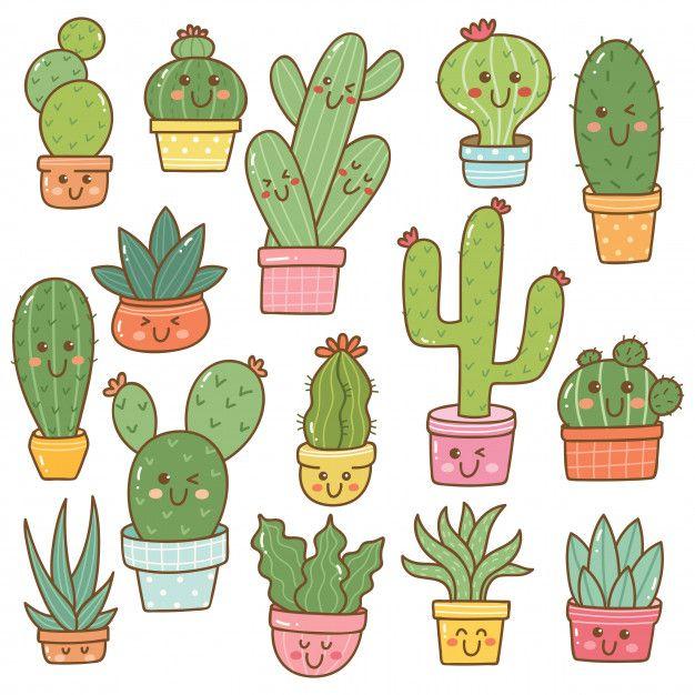 Photo of Satz Der Kaktuspflanze In Kawaii