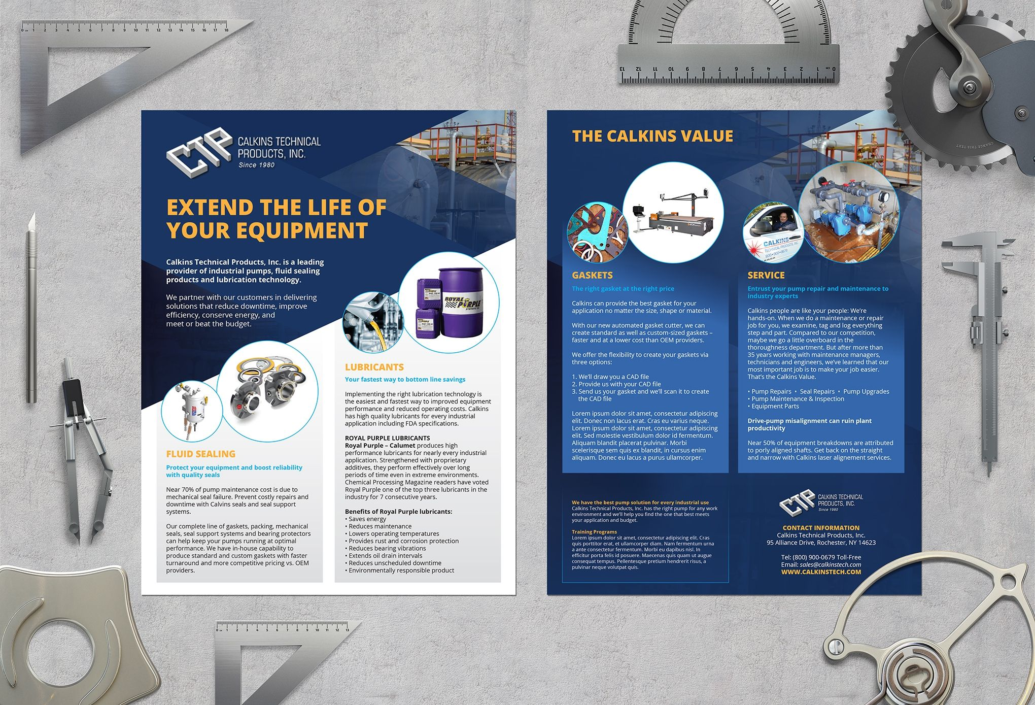 designs design a sales flyer for calkins technical products