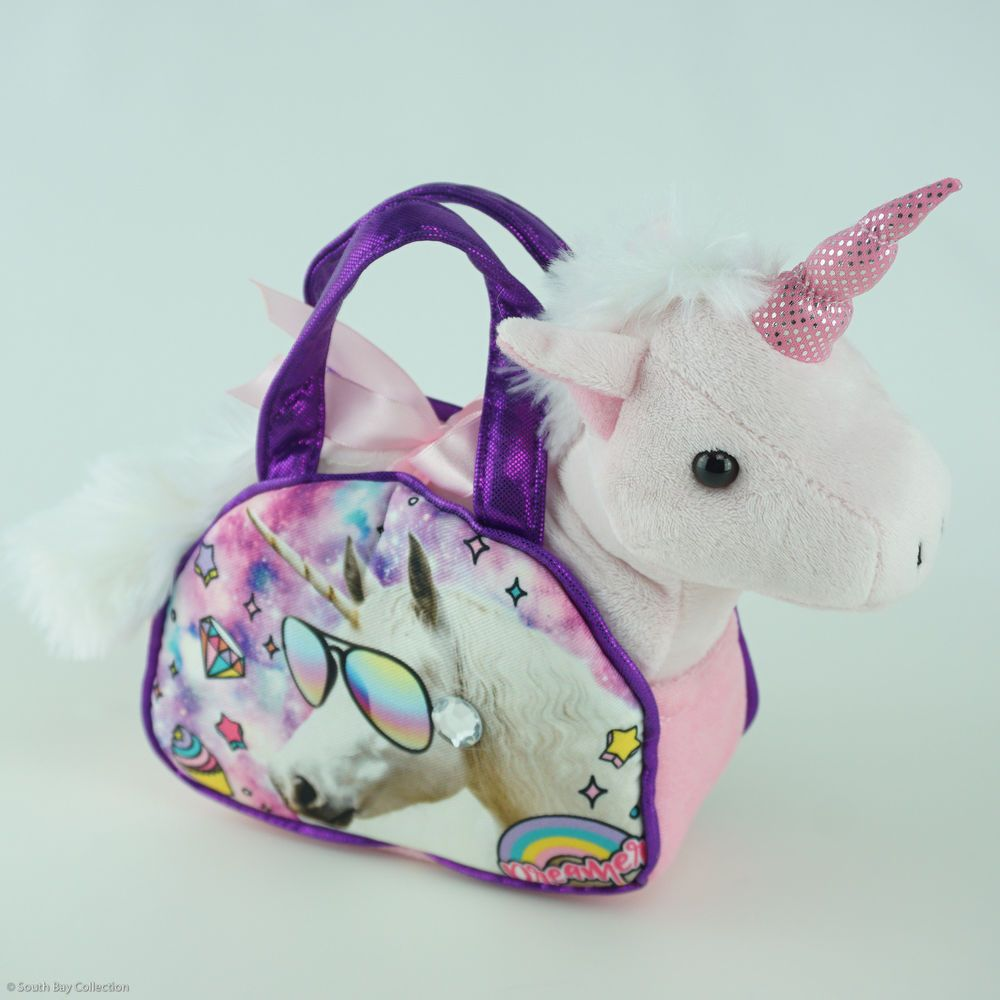 Stuffed Unicorn Purse for Kids Plush Pet Animal on Little