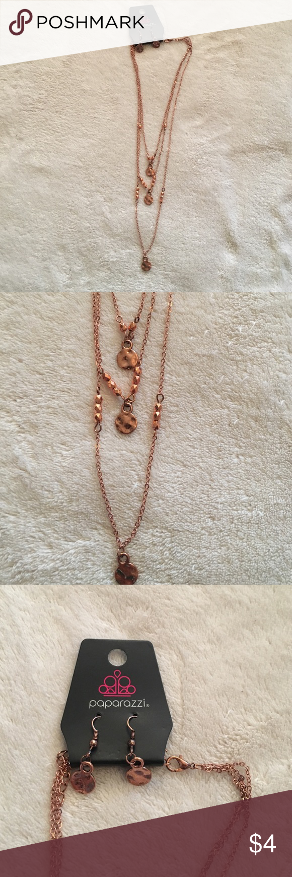 Costume jewelry necklace and earrings Looks similar to rose gold