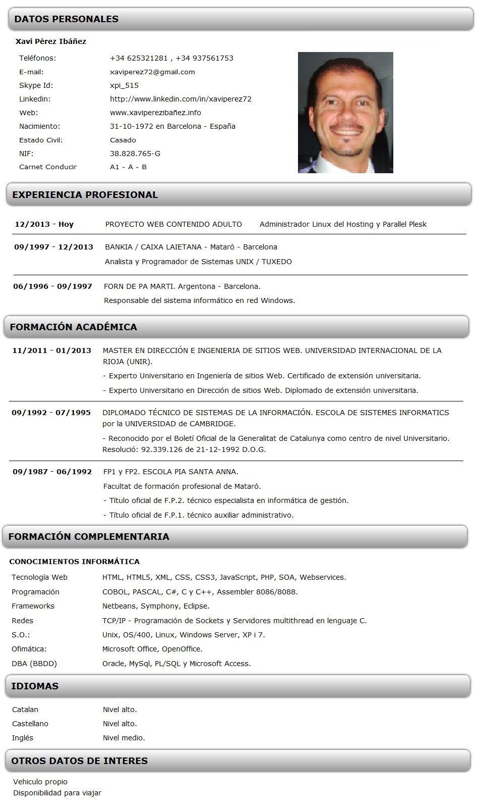 Ejemplo Curriculum Vitae Informatico Jpg 950 1598 E4 Pinterest