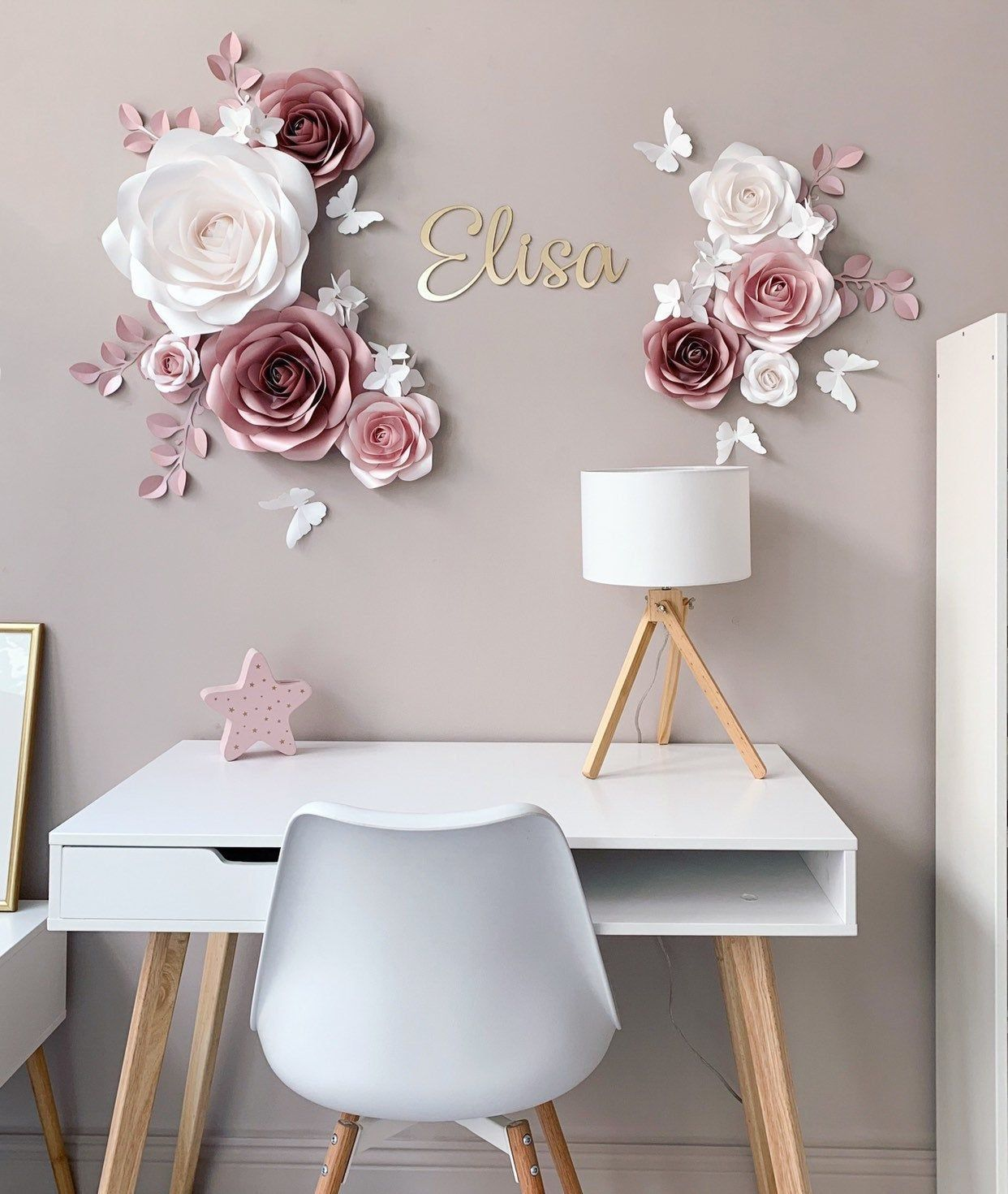 Photo of Elegant Paper Flower Set – Nursery Paper Flowers – Nursery Wall Decor – Paper Flowers Decor – Paper Flowers Wall Decor