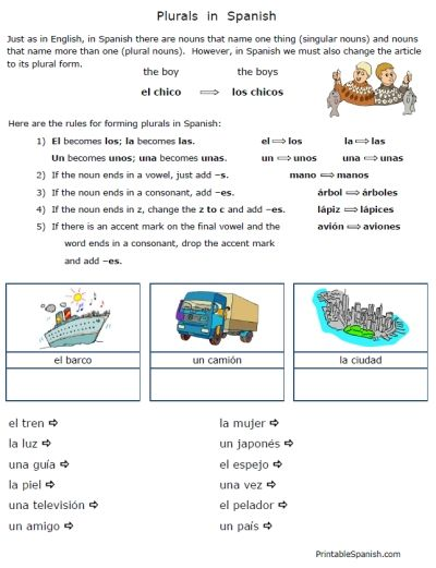 Simple Short Sweet Free Plurals In Spanish Worksheets Packet