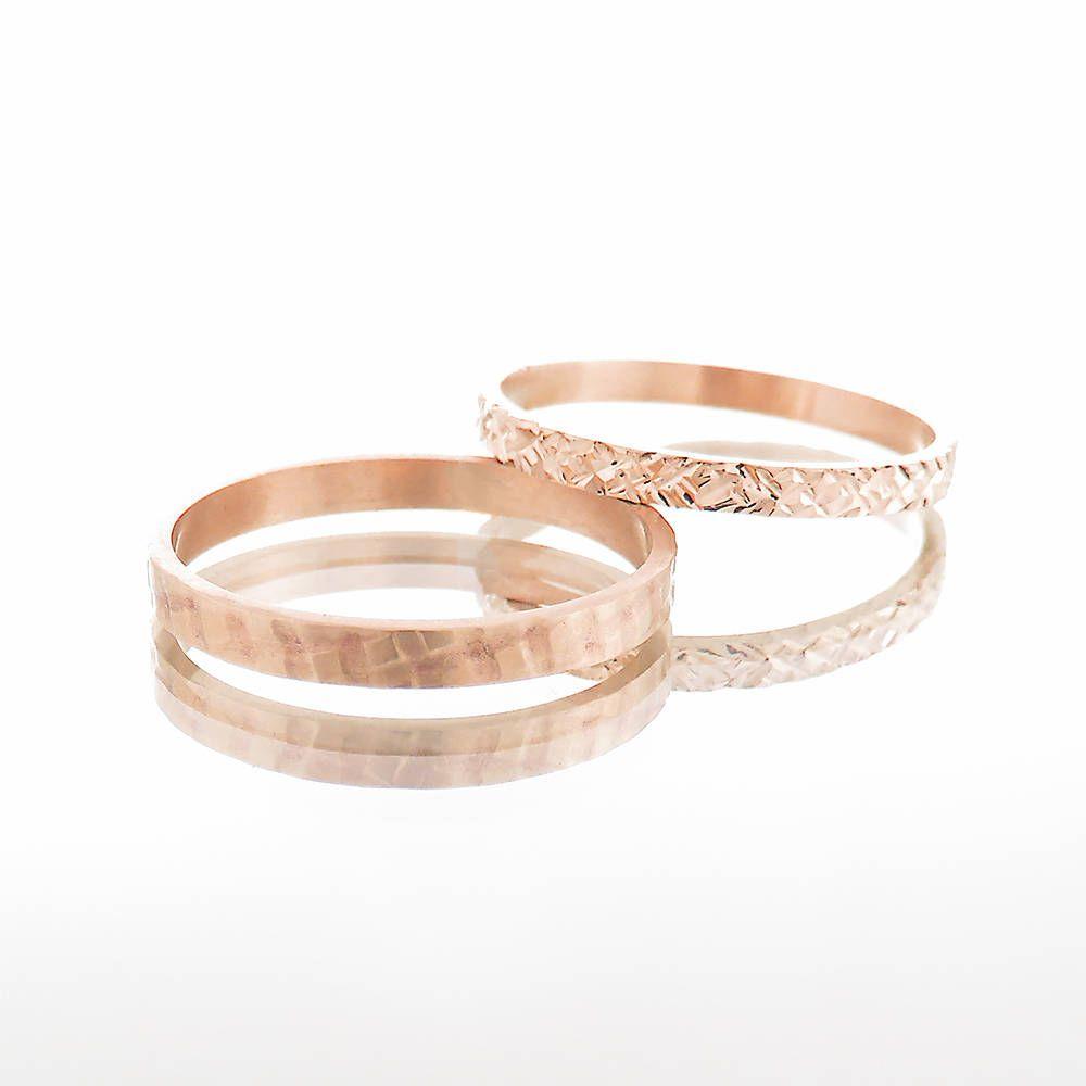 Rose gold wedding rings, Rose gold wedding bands set, Women's rose gold wedding ring, Men's wedding band, Couples wedding rings, 14K, 18k