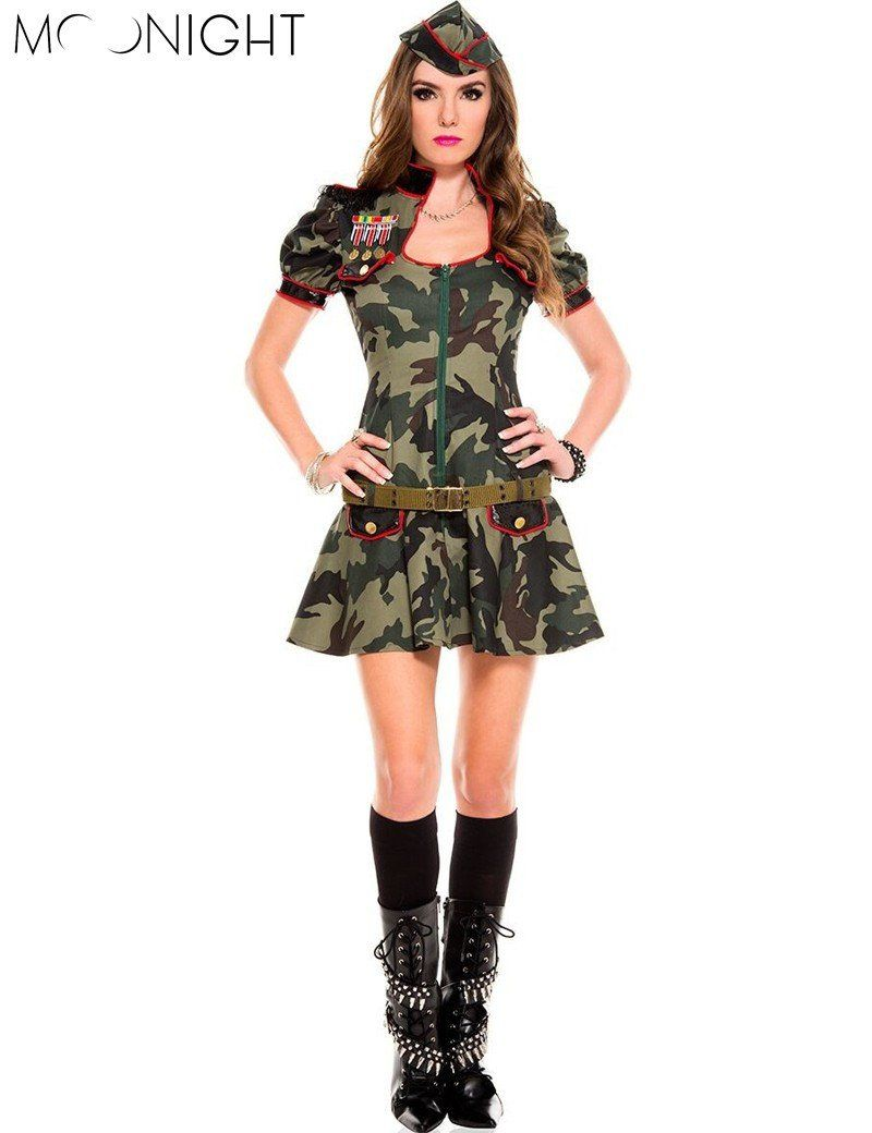 MOONIGHT Sexy Adult Women Army Uniform Costume Halloween Sexy Party Costumes Soldier Women Dress Camouflage Color  sc 1 st  Pinterest & MOONIGHT Sexy Adult Women Army Uniform Costume Halloween Sexy Party ...