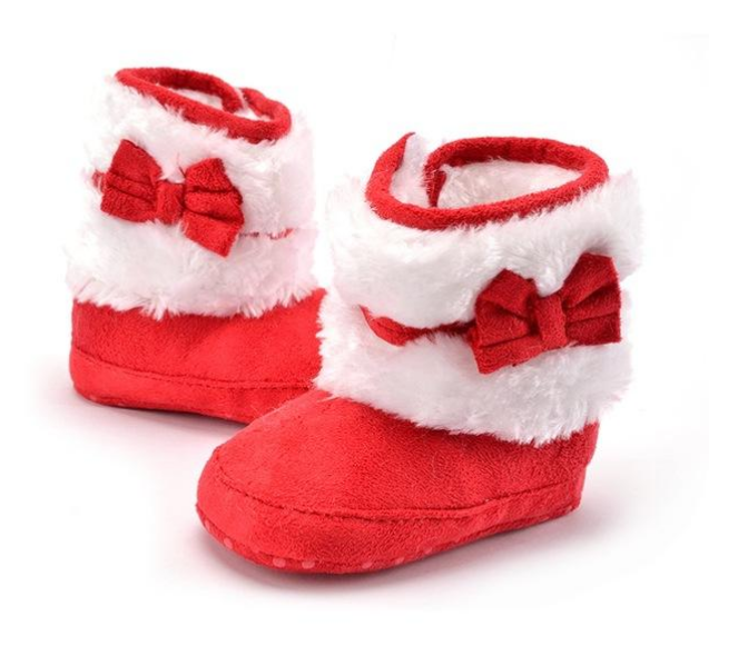 Fnnetiana Unisex Baby Boots Bowknot Warm Winter Snow Boots Non-Slip Rubber Soles Infant Prewalker Toddlers Shoes