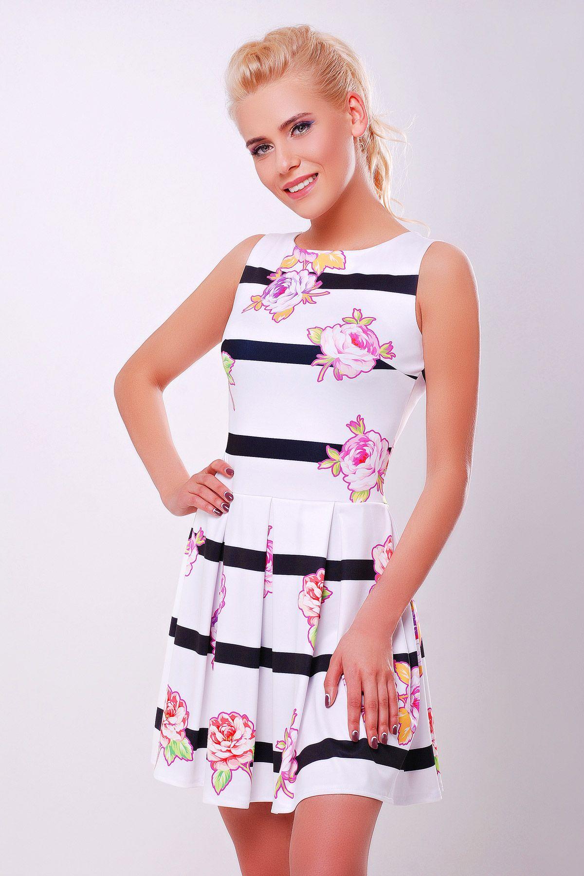 a97a96a34c1 Белое летнее платье без рукавов в горизонтальную черную полоску с цветами  на принте. Цветы-полоска платье Мия-1 б р. Цвет  принт