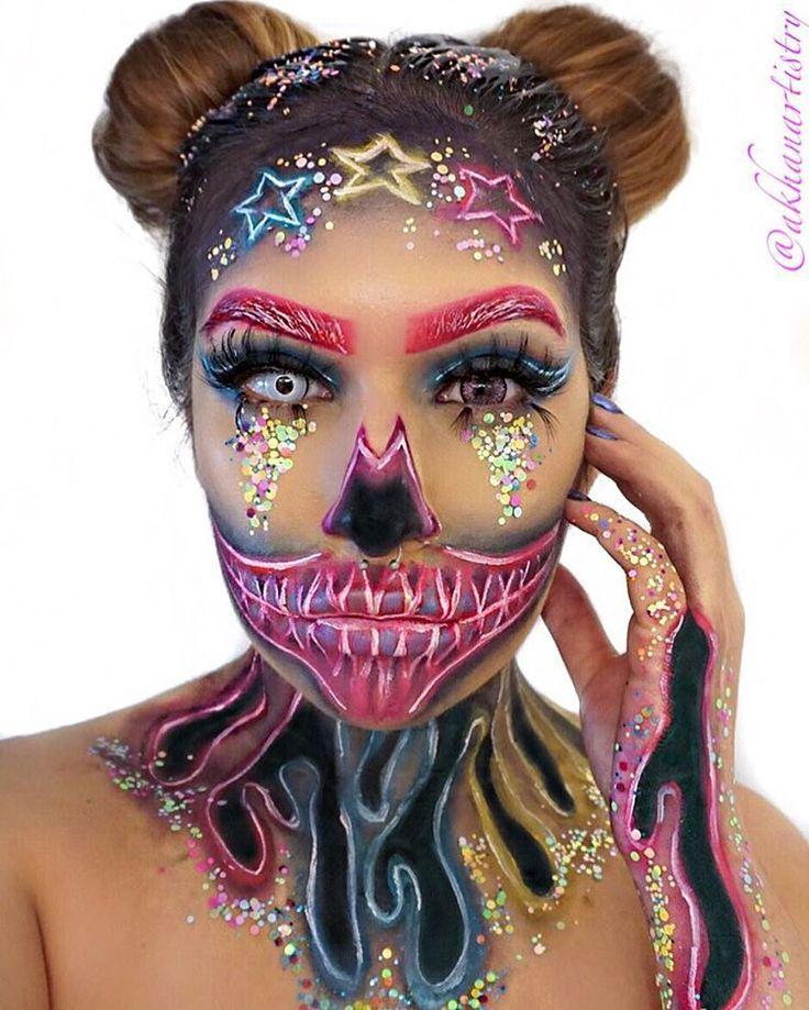 Glittery Pink Sugar Skull Halloween Makeup Halloween Makeup Sugar Skull Halloween Makeup Looks Halloween Makeup
