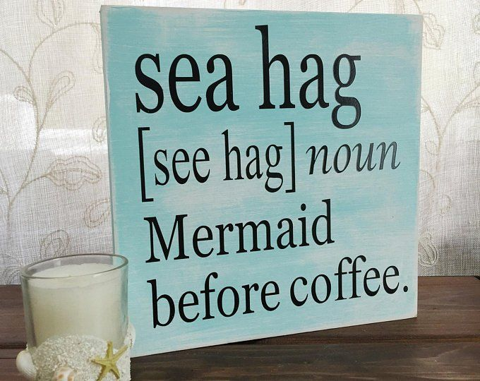 Coffee bar sign sea hag sign mermaid sign coffee lover gift wood beach sign mermaid decor funny coffee sign beach house decor mermaid gift #mermaidsign