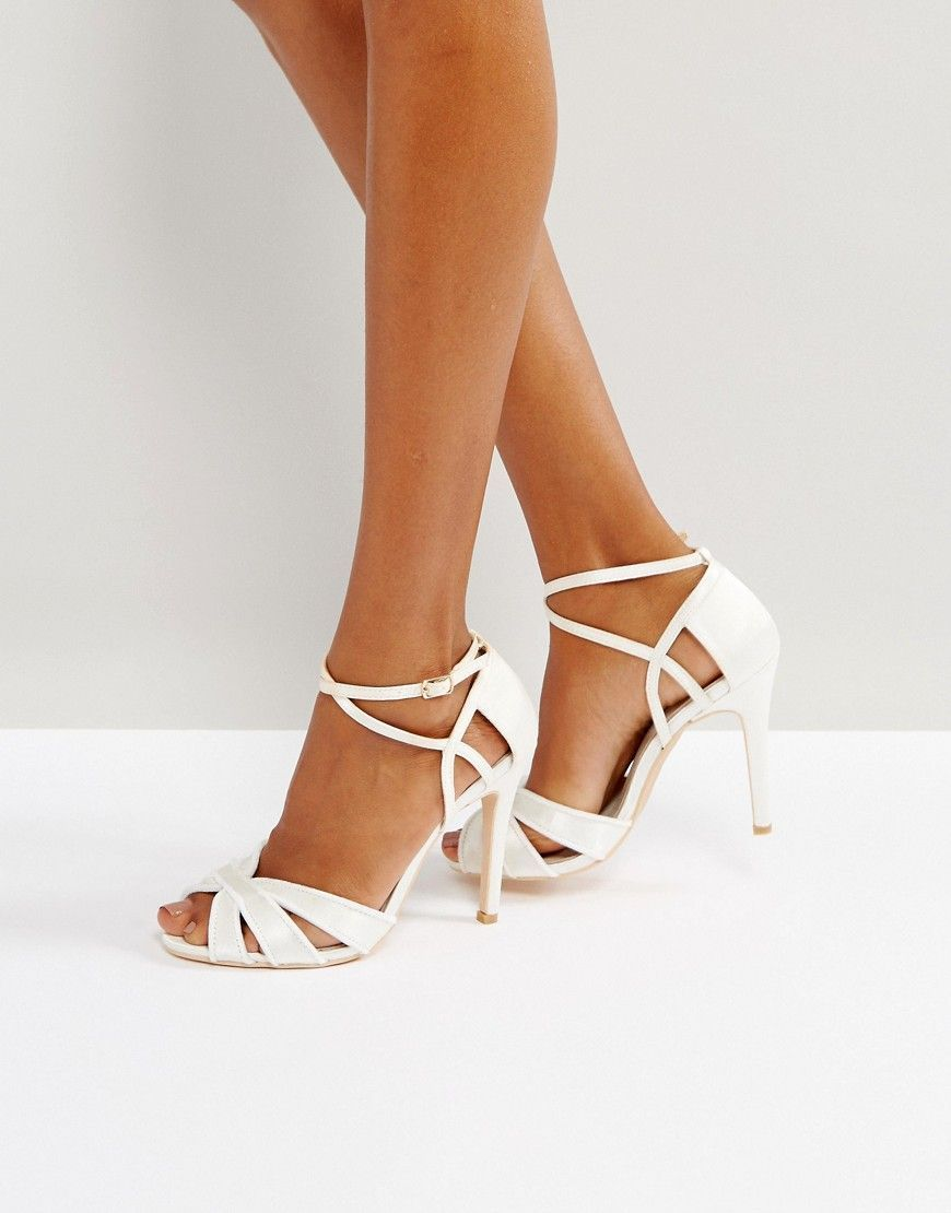 29c87b5e983 True Decadence Ivory Strappy Bow Heeled Sandals in 2019   Casamiento ...