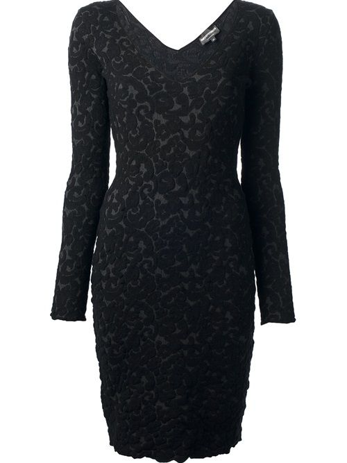Incredible form-fitting Emporio Armani dress from Society of Shop merchant Tessabit -- 40% off, mixture of manmade and cashmere, and still some sizes left. This is one of many fall/winter dresses still available and on sale at Tessabit.