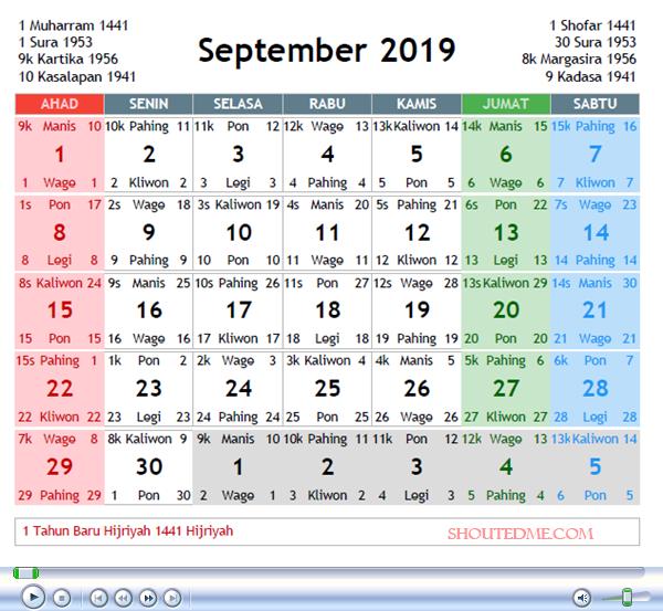 Kalender Jawa September 2019 Kalender Rabu Selasa