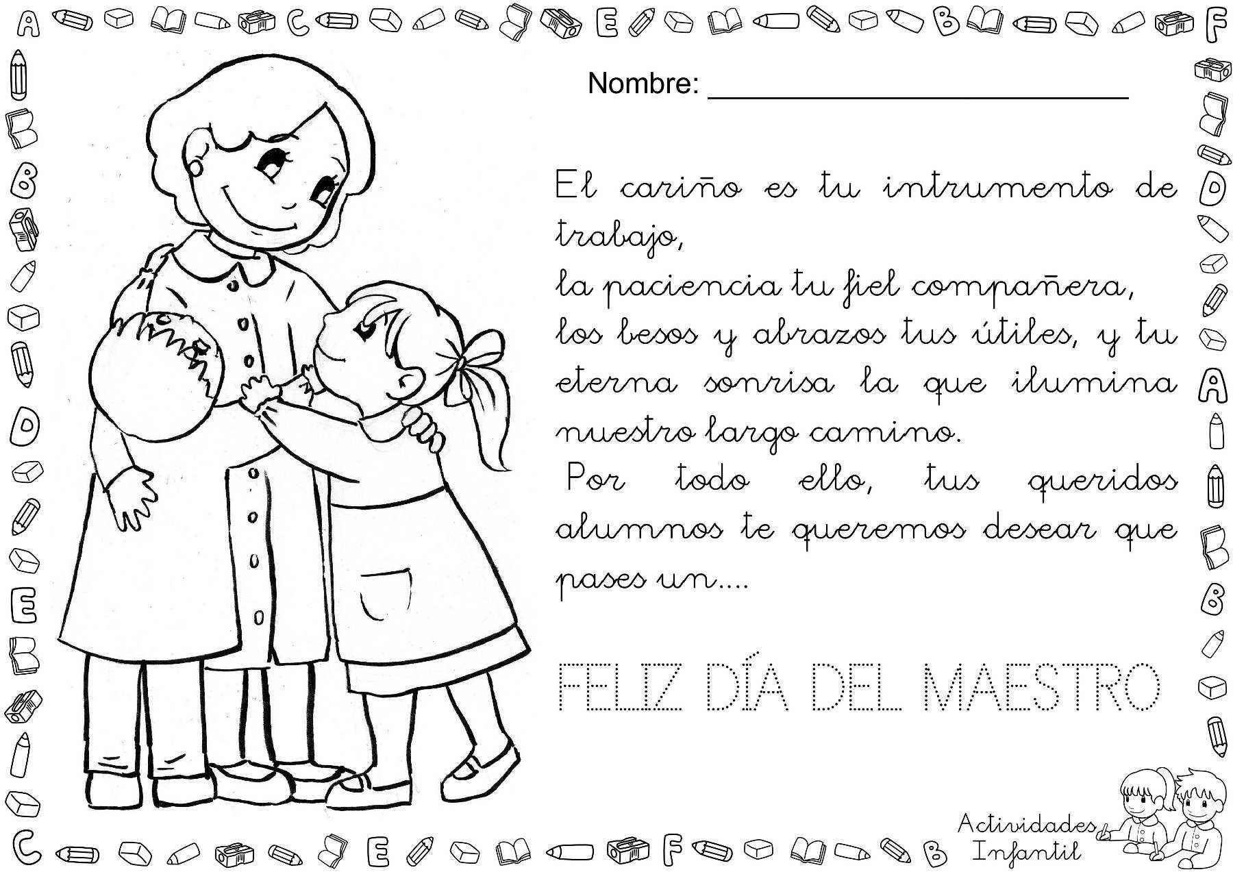 Elegante Dibujos Para Colorear Nina Bonita Dia De Los Maestros