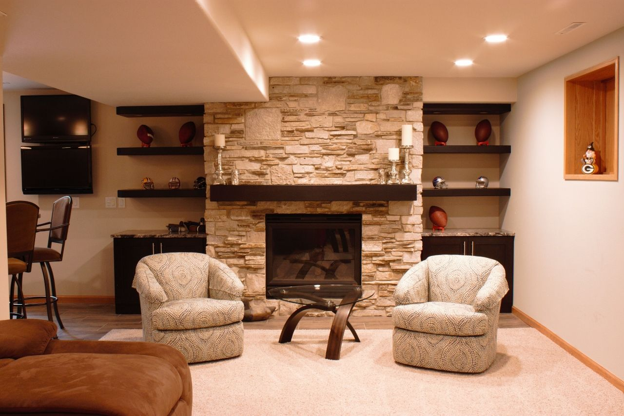 Contemporary Downstairs Basement With Fireplace Stone Wall
