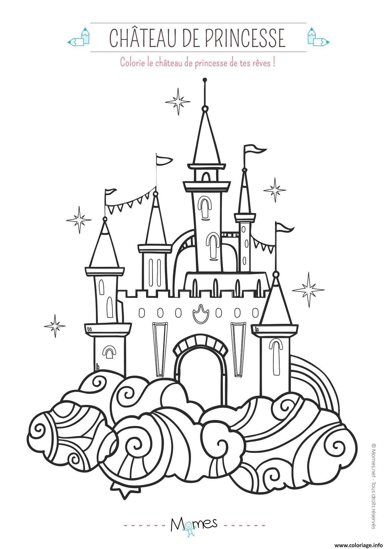 Coloriage Le Chateau De Princesse Dessin A Imprimer Chateau
