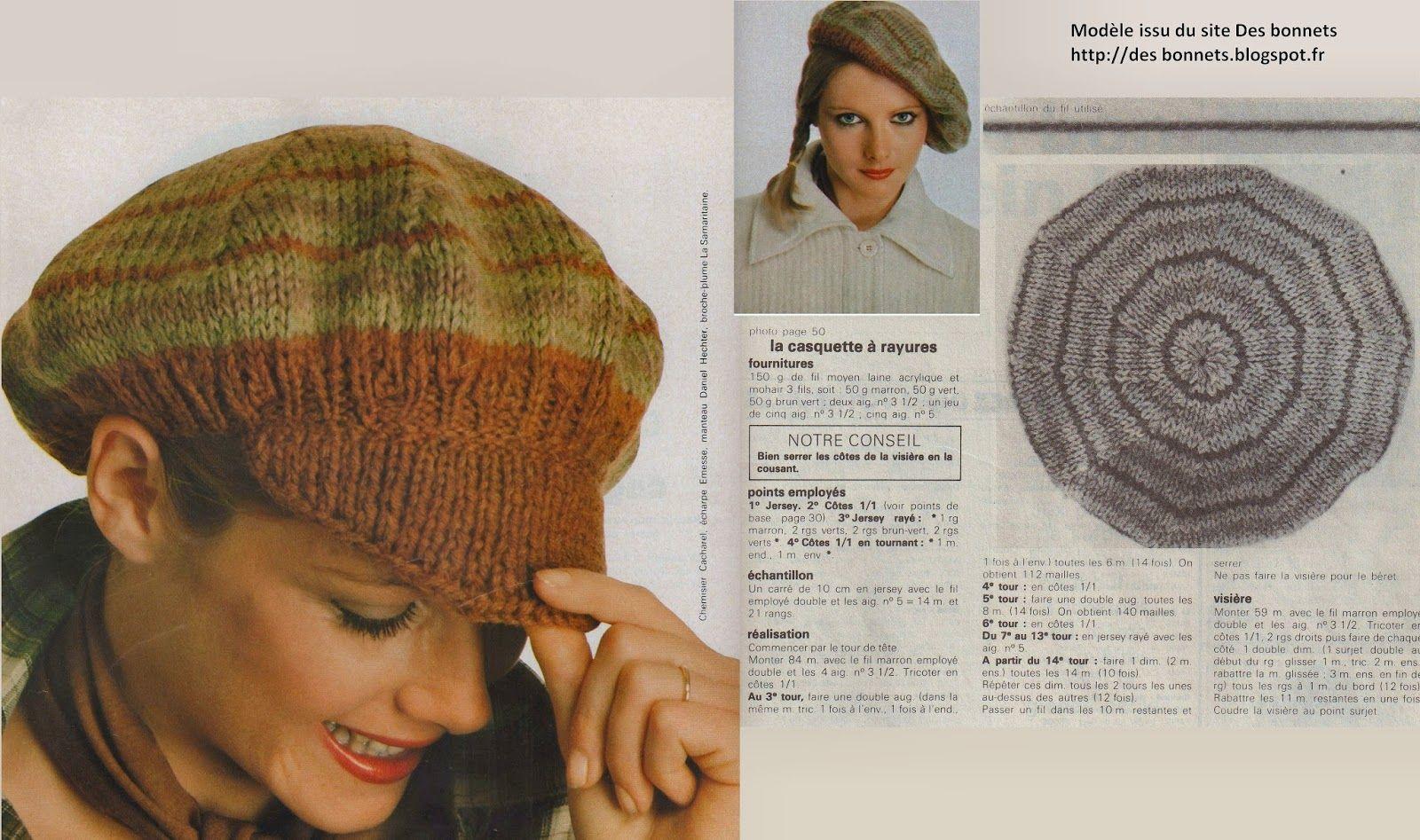 tricoter un bonnet a visiere