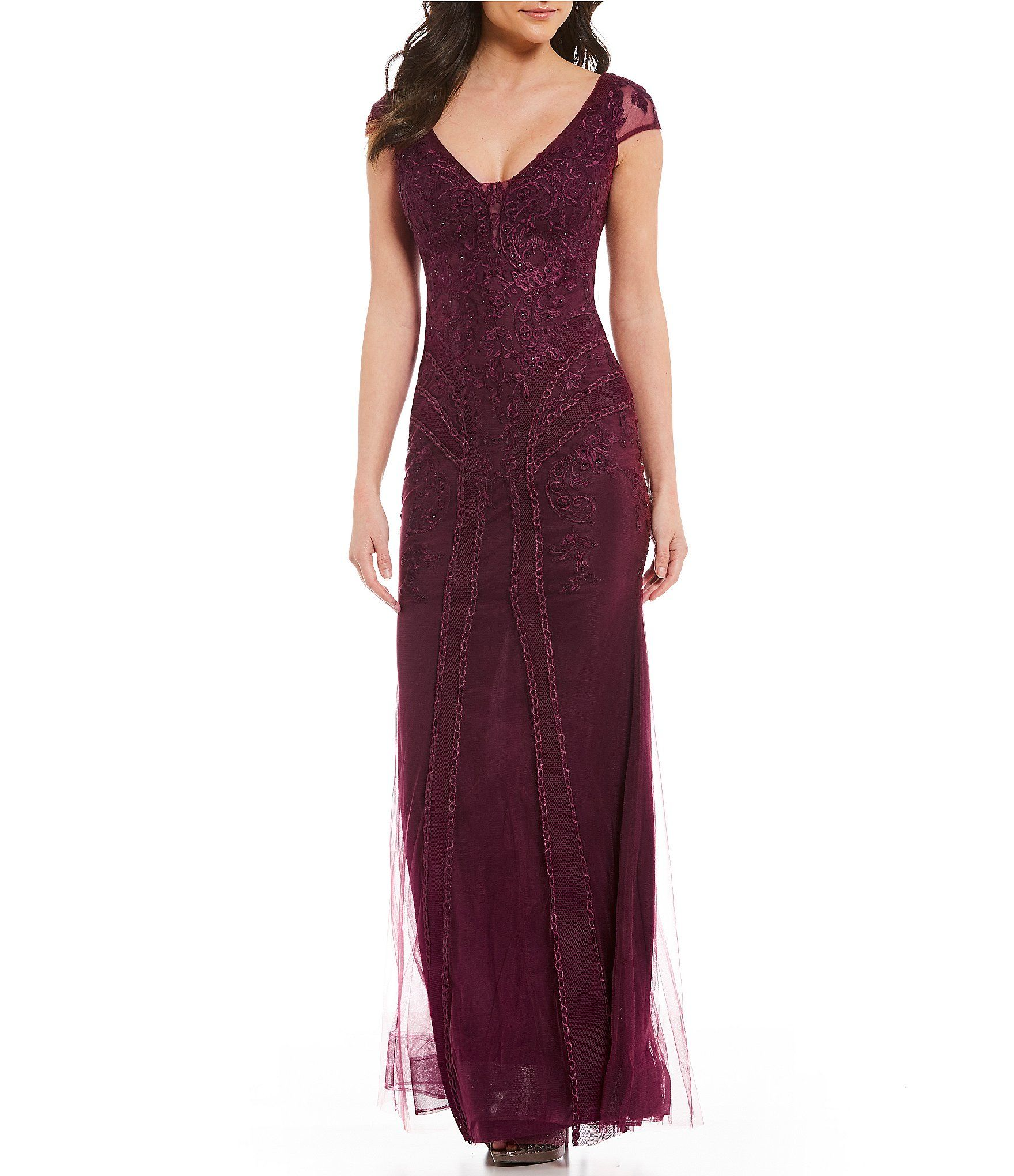 Xscape V-Neck Embroidered Lace Gown | Embroidered lace, Dillards and ...