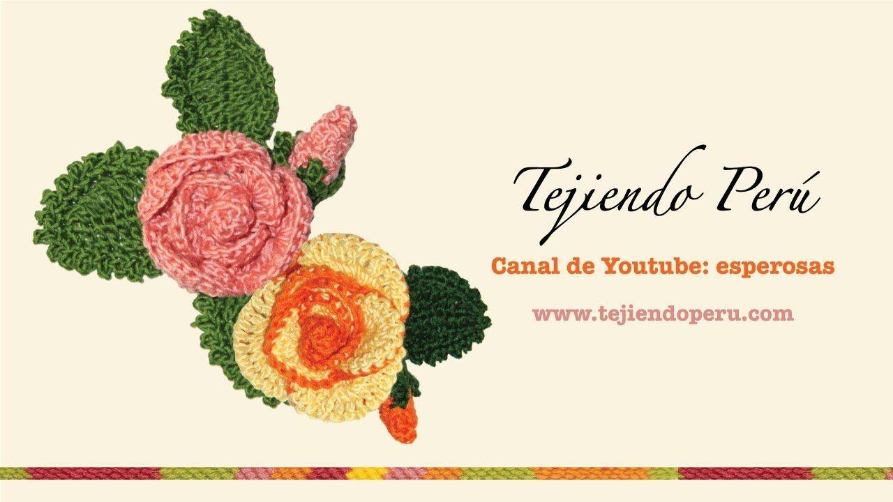 Rosas (flores y botones) tejidos a crochet | FLORES de TELA y LANA ...