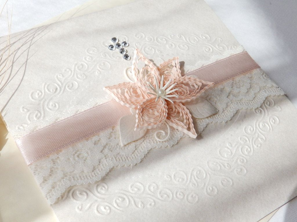 Handmade boy Christening invitationElegant white lace invitationUnique