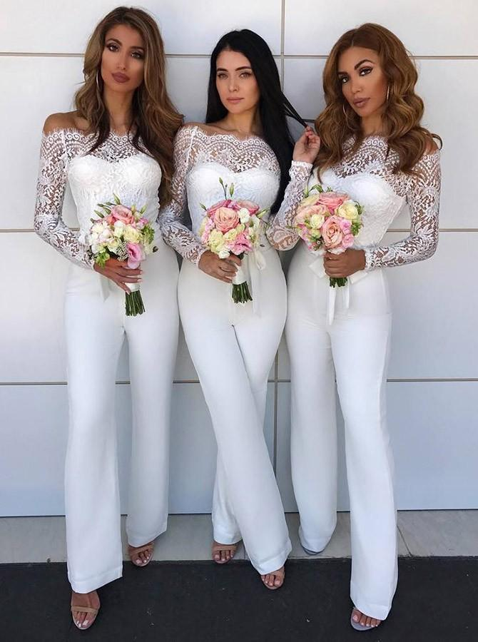 Prom Dress Beautiful, Off the Shoulder Lace Patchwork White Formal Jumpsuit Bridesmaid #bridesmaidjumpsuits
